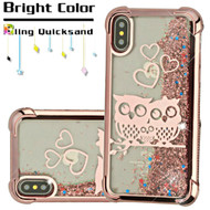 Confetti Quicksand Glitter Electroplating Transparent Case for iPhone X - Owl