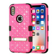 Military Grade Certified TUFF Diamond Hybrid Armor Case with Stand for iPhone X - Hot Pink