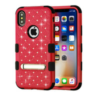 Military Grade Certified TUFF Diamond Hybrid Armor Case with Stand for iPhone X - Red
