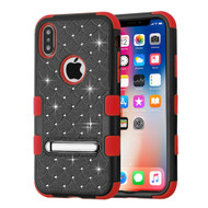Military Grade Certified TUFF Diamond Hybrid Armor Case with Stand for iPhone X - Black Red