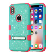 Military Grade Certified TUFF Diamond Hybrid Armor Case with Stand for iPhone X - Teal Green Electric Pink