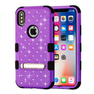 Military Grade Certified TUFF Diamond Hybrid Armor Case with Stand for iPhone X - Purple