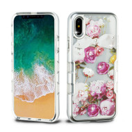 TUFF Panoview Diamante Transparent Hybrid Case for iPhone X - Roses