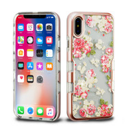 TUFF Panoview Diamante Transparent Hybrid Case for iPhone X - European Rose