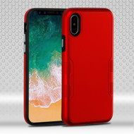 Military Grade Certified TUFF Contempo Hybrid Armor Case for iPhone X - Titanium Red