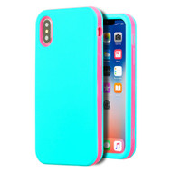 Verge Hybrid Armor Case for iPhone X - Teal Green Electric Pink