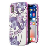 Verge Hybrid Armor Case for iPhone X - Purple Hibiscus Flower Romance