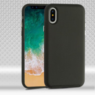 Haptic Football Textured Anti-Slip Hybrid Armor Case for iPhone X - Black