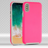 Haptic Football Textured Anti-Slip Hybrid Armor Case for iPhone X - Hot Pink