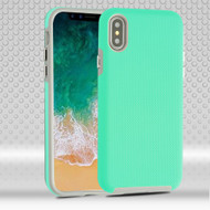 Haptic Football Textured Anti-Slip Hybrid Armor Case for iPhone X - Teal Green