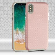 Haptic Football Textured Anti-Slip Hybrid Armor Case for iPhone X - Rose Gold