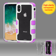 TUFF Vivid Transparent Hybrid Armor Case for iPhone X - Ivory White Electric Purple