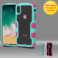 TUFF Vivid Transparent Hybrid Armor Case for iPhone X - Teal Green Electric Pink