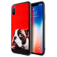 Graphic Rubberized Protective Gel Case for iPhone X - French Bulldog