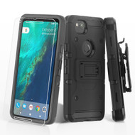 3-IN-1 Kinetic Hybrid Armor Case with Holster and Tempered Glass Screen Protector for Google Pixel 2 - Black