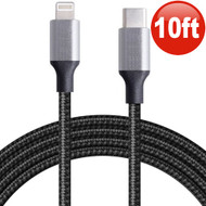 Eco-Friendly Nylon Braided Tangle-Free USB-C (Type-C) to Lightning Connector Cable - 10 ft. Black