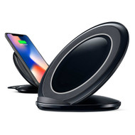 Dual Coils Qi Wireless Fast Charger Charging Stand with Cooling Fan - Black