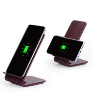 Wood Color Dual Coils Fast Wireless Charger Qi Charging Stand - Mahogany