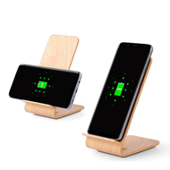 Wood Color Dual Coils Fast Wireless Charger Qi Charging Stand - Pine