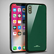 Minimalistic TPU Case with Tempered Glass Backing for iPhone X - Green