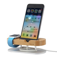 Bamboo Multi-Function Desktop Charging Dock with Aluminum Stand for Apple Watch and Smartphones