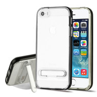 Bumper Shield Clear Transparent TPU Case with Magnetic Kickstand for iPhone SE / 5S / 5 - Black