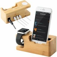 Bamboo Wood Apple Watch and Smartphone Charging Dock with 3 USB Ports 3.0 Hub