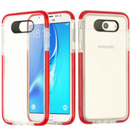 Crystal Clear Transparent TPU Case with Bumper Reinforcement for Samsung Galaxy J7 (2017) / J7 V / J7 Perx - Red