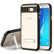 *Sale* Bumper Shield Clear Transparent TPU Case with Magnetic Kickstand for Samsung Galaxy J7 (2017) / J7 V / J7 Perx - Black