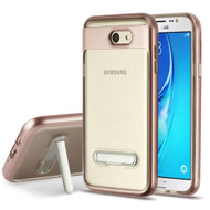 *Sale* Bumper Shield Transparent TPU Case with Kickstand for Samsung Galaxy J7 (2017) / J7 V / J7 Perx - Rose Gold