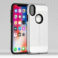 Leather Texture Anti-Shock Hybrid Protection Case for iPhone X - Silver