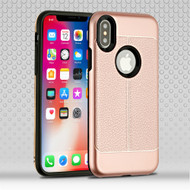 *Sale* Leather Texture Anti-Shock Hybrid Protection Case for iPhone X - Rose Gold