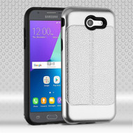 *Sale* Leather Texture Anti-Shock Hybrid Case for Samsung Galaxy J3 (2017) / J3 Emerge / J3 Prime / Amp Prime 2 - Silver