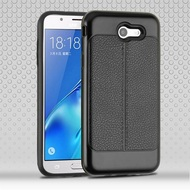 Leather Texture Anti-Shock Hybrid Protection Case for Samsung Galaxy J7 (2017) / J7 V / J7 Perx - Black