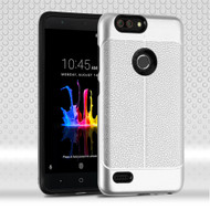 Leather Texture Anti-Shock Hybrid Protection Case for ZTE Blade Z Max - Silver