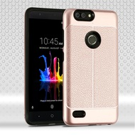 Leather Texture Anti-Shock Hybrid Protection Case for ZTE Blade Z Max - Rose Gold