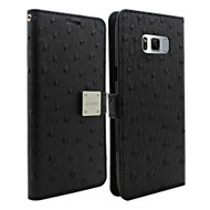 Synthetic Ostrich Leather Wallet Case for Samsung Galaxy S8 - Black