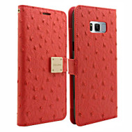 Synthetic Ostrich Leather Wallet Case for Samsung Galaxy S8 - Hot Pink