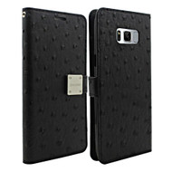 Synthetic Ostrich Leather Wallet Case for Samsung Galaxy S8 Plus - Black