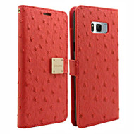 Synthetic Ostrich Leather Wallet Case for Samsung Galaxy S8 Plus - Hot Pink