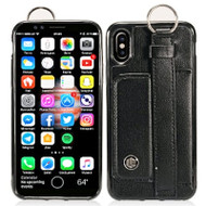Premium Leather TPU Case with Hand Strap and Kickstand for iPhone X - Black
