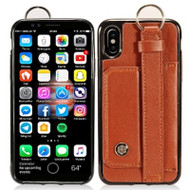 Premium Leather TPU Case with Hand Strap and Kickstand for iPhone X - Brown