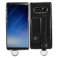 Premium Leather TPU Case with Hand Strap and Kickstand for Samsung Galaxy Note 8 - Black