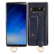 Premium Leather TPU Case with Hand Strap and Kickstand for Samsung Galaxy Note 8 - Dark Blue