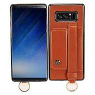 Premium Leather TPU Case with Hand Strap and Kickstand for Samsung Galaxy Note 8 - Brown