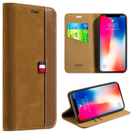 *Sale* Genuine Suede Leather Two Tone Wallet Case for iPhone X - Brown