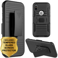 Mag-Defender Hybrid Armor Case with Holster and Tempered Glass Screen Protector for iPhone X - Black