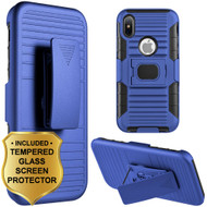 Mag-Defender Hybrid Armor Case with Holster and Tempered Glass Screen Protector for iPhone X - Blue