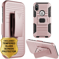Mag-Defender Hybrid Armor Case with Holster and Tempered Glass Screen Protector for iPhone X - Rose Gold