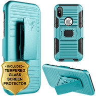 Mag-Defender Hybrid Armor Case with Holster and Tempered Glass Screen Protector for iPhone X - Teal